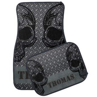 Personalized Diamond Plate with Half Skulls Car Mat