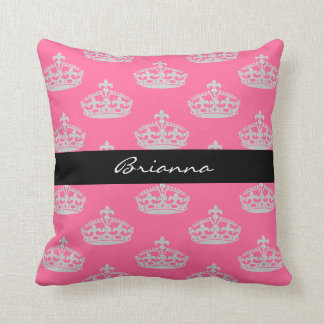 Personalized Diamond Princess Crown Throw Pillow