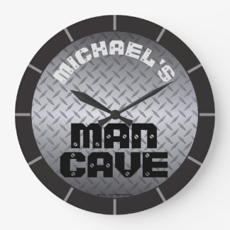Personalized Diamondplate Man Cave Large Clock
