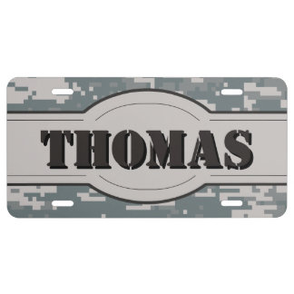 Personalized Digital Camouflage Texture License Plate