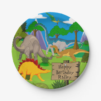 Personalized Dinosaur Birthday 7 Inch Paper Plate