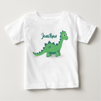 Personalized dinosaur green blue kids t-shirt