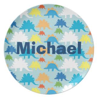 Personalized Dinosaur Kids Melamine Plate Custom