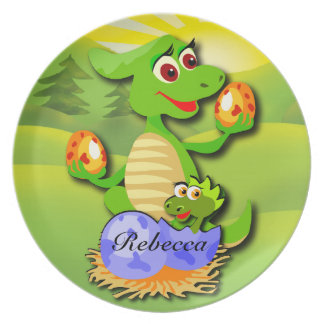 Personalized Dinosaur mother and baby cartoon Party Plate