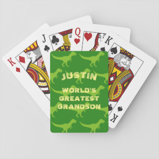 Personalized dinosaur playing cards for grandson
