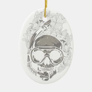 Personalized Dive Utila Honduras Skull Scuba Diver Ceramic Oval Ornament