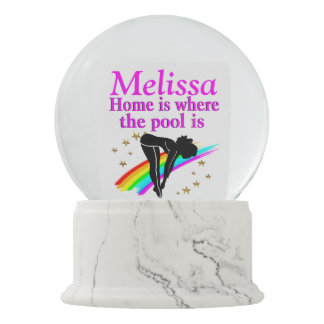 PERSONALIZED DIVING GIRL SNOW GLOBE