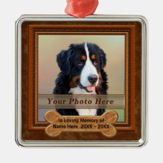 Personalized Dog a Memorial Gifts YOUR PHOTO, TEXT Metal Ornament