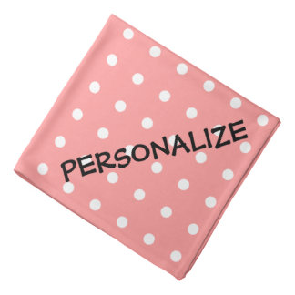 Personalized dog bandana | Coral pink polka dots