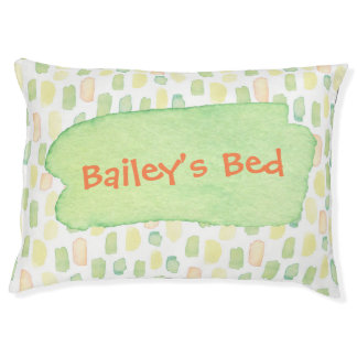 Personalized Dog Bed Watercolor Green Yellow Orang
