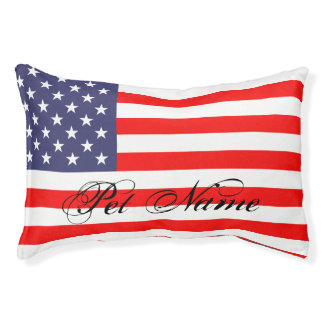 Personalized dog bed with patriotic american flag small dog bed