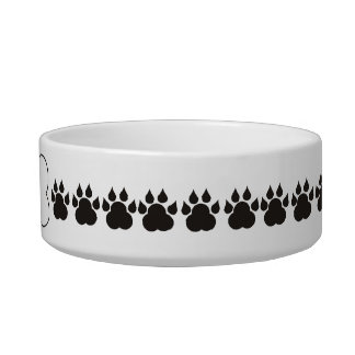 Personalized Dog Bone Paw Print Pet Bowl