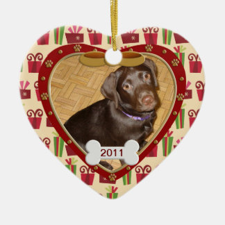 Personalized Dog Photo Frame Ceramic Heart Ornament
