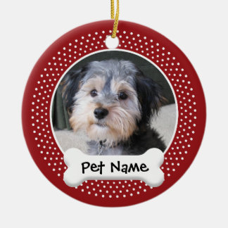 Personalized Dog Photo Frame - SINGLE-SIDED Round Ceramic Ornament