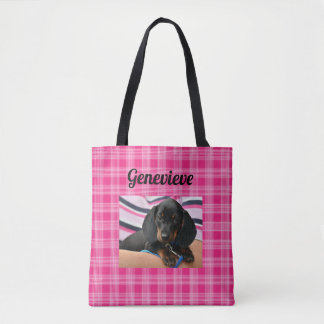 Personalized Dog Photo Paw Print Pink Tote Bag