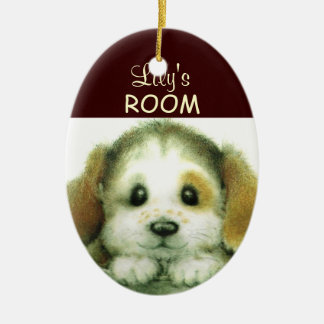 Personalized Doggy Door Sign Ceramic Oval Ornament