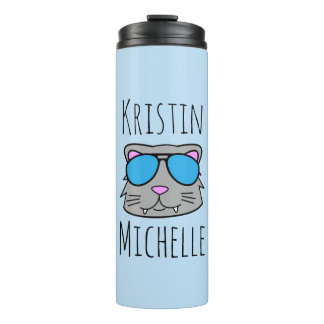 Personalized Doodle Face Cat Thermal Tumbler