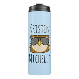 Personalized Doodle Face Owl Thermal Tumbler