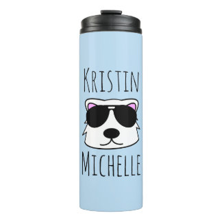 Personalized Doodle Face Polar Bear Thermal Tumbler