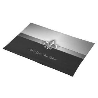 Personalized Dramatic Black Silver Fleur de Lis Place Mats