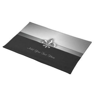 Personalized Dramatic Black Silver Fleur de Lis Placemat