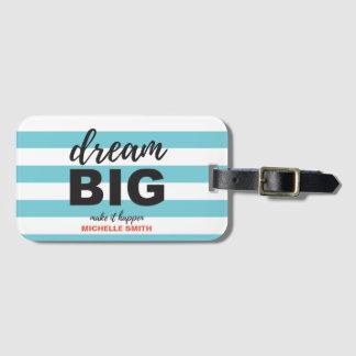"""Personalized, """"Dream Big"""", Striped, custom Luggage Tag"""