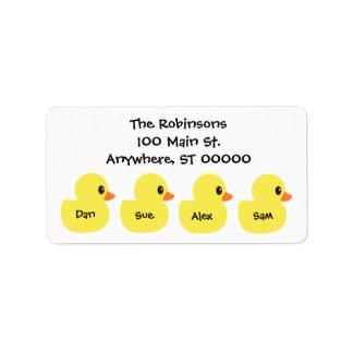 "Personalized ""Ducks"" Address Labels"