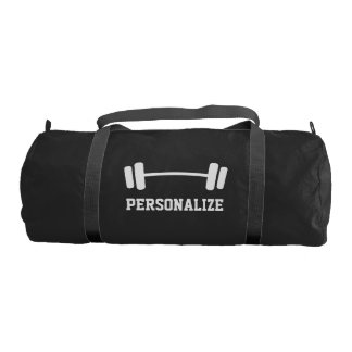 Personalized dumbbell weightlifting duffle gym bag
