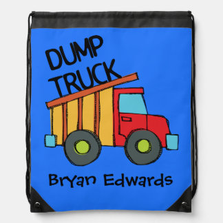 Personalized Dump Truck Drawstring Bag