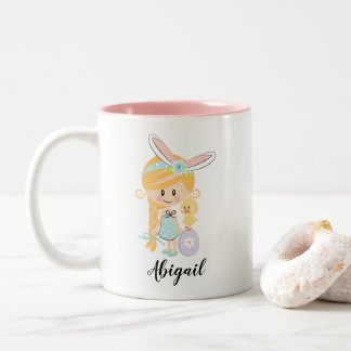 Personalized Easter Bunny Girl Chick Mug Blonde