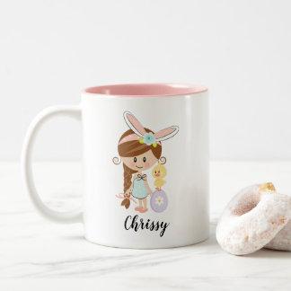 Personalized Easter Bunny Girl Mug Brunette Chick