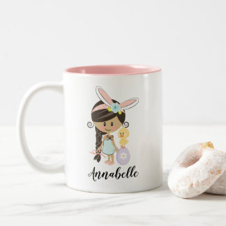 Personalized Easter Bunny Girl Mug Dark Skin Hair