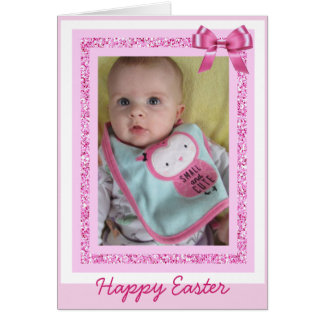 Personalized Easter Card, Add Baby Photo Cute Pink Card