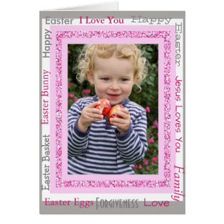 Personalized Easter Card, Add Photo Cute Pink Card