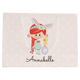 Personalized Easter Gift Bag Bunny Ears Redhead