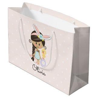 Personalized Easter Gift Bag Bunny Headband Dark