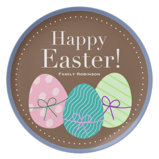 Personalized Easter Plates Cute Eggs