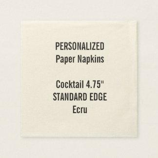 Personalized Ecru Standard Cocktail Paper Napkins