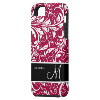 Personalized Eleagant Burgundy and White Damask iPhone 5 Cases