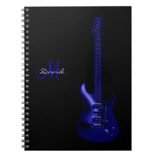Personalized Electric Blue Guitar Music Notebook
