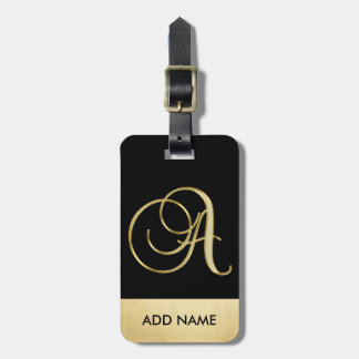 Personalized Elegant Black Gold Monogram Letter A Luggage Tag