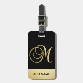Personalized Elegant Black Gold Monogram Letter M Luggage Tag