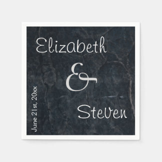 Personalized Elegant Black Stone Texture Disposable Napkins