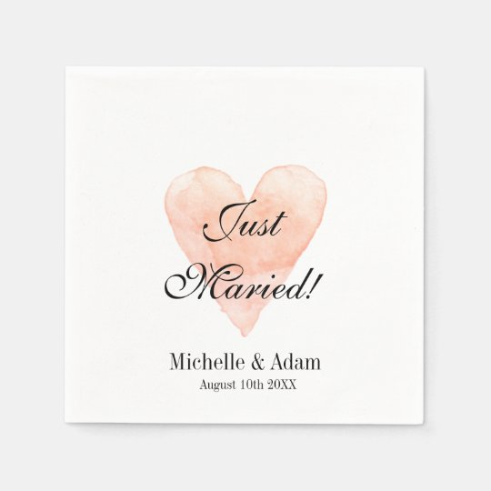 Personalized elegant coral heart wedding napkins paper napkin