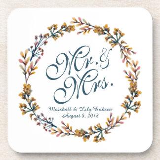 Personalized Elegant Floral Wedding   Coaster