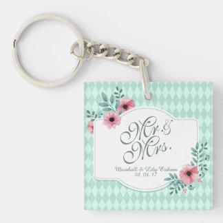 Personalized Elegant Floral Wedding Keychain
