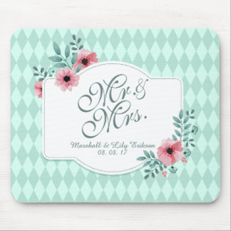 Personalized Elegant Floral Wedding | Mousepad