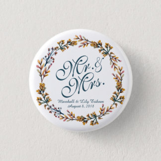 Personalized Elegant Floral Wedding Pin Button