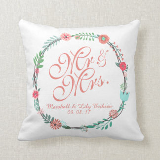 Personalized Elegant Floral Wedding Throw Pillow