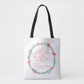 Personalized Elegant Floral Wedding Tote Bag